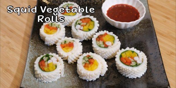 How to make Korean Squid Vegetable Rolls / 오징어야채말이 | Olive's Cooking